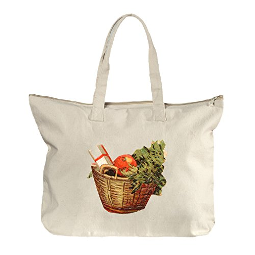 Gift Basket Vintage Look Canvas Beach Zipper Tote Bag Tote (Tampa Gift Baskets)