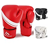 Brace Master Boxing Gloves for Men and Women, Leather Infused Gel Training Gloves for Sparring, Kickboxing, Punching Bag, Fighting, Mitts, Muay Thai, Sports & Outdoor Play Games 8-16 OZ (Red, 14OZ)