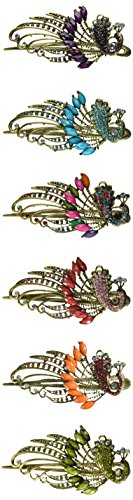 Dana Basics Vintage Jewelry Crystal Peacock Hair Clips - Crystal Alligator Clip