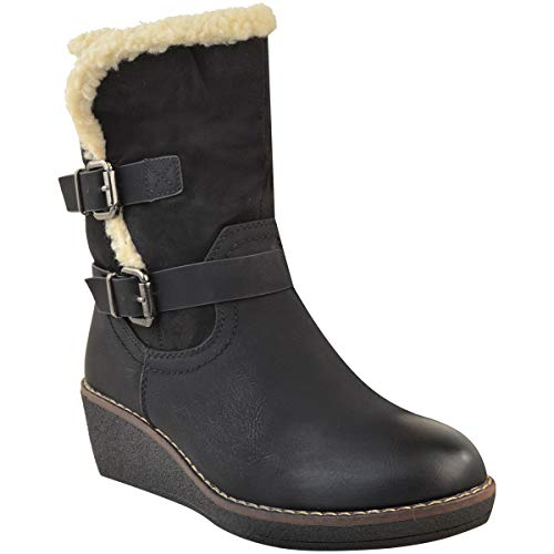 Gun Metal Snow Black Thirsty Size Warm by Fur Fashion Ankle Low Walking Faux Ladies Heel Winter Buckle Leather Wedge Faux Boots Womens Heelberry RwwnqFTxO1
