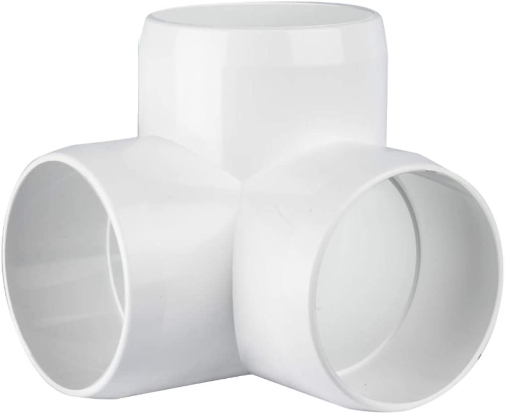 "CIRCOPACK 2"" 3-way ell PVC Fitting Connectors Furniture Grade for use with Schedule 40 2"" PVC Pipes (2 pieces) (3-way)"