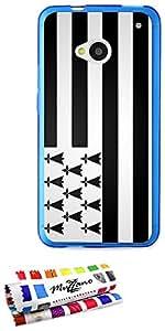 Carcasa Flexible Ultra-Slim HTC ONE / M7 de exclusivo motivo [Bandera Breton] [Azul] de MUZZANO  + ESTILETE y PAÑO MUZZANO REGALADOS - La Protección Antigolpes ULTIMA, ELEGANTE Y DURADERA para su HTC ONE / M7