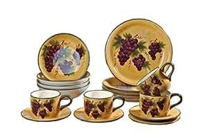 16 Pc Dinnerware Set Dinner Set Tuscany Grape Wine Decor Grape Style Dinnerware