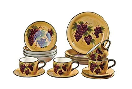 16 pc Dinnerware Set Dinner Set Tuscany Grape Wine Decor  sc 1 st  Amazon.com & Amazon.com: 16 pc Dinnerware Set Dinner Set Tuscany Grape Wine ...
