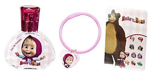 Air Val Mascha und der Bär Geschenk-Set, 1er Pack (Beauty und Schmuck-Set, bestehend aus Parfum, Armband und Sticker-Ohrringen) Air-Val 6591
