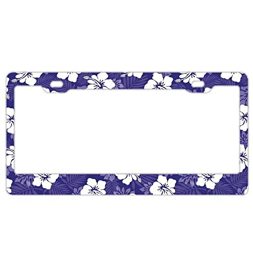 - Hawaiian Tropical Blue Hibiscus Flowers Customized Car License Plate Frame for Women Pretty Cute Auto License Plate Frame Humor