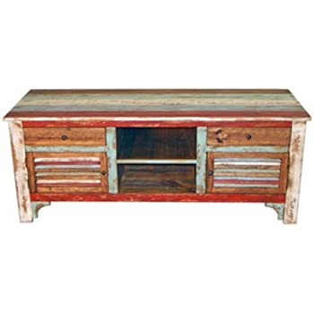 rustic western 60 reclaimed look multi colored louvered tv stand console - Colored Tv Stands