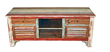 Rustic Western 60u0026quot; Reclaimed Look Multi Colored Louvered Tv Stand  Console