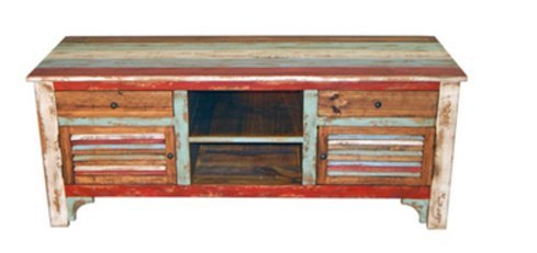"Rustic Western 60"" Reclaimed Look Multi Colored Louvered Tv Stand Console -  - tv-stands, living-room-furniture, living-room - 41gHuP6KquL -"