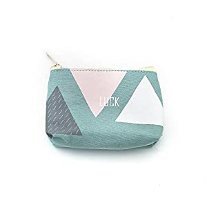 Cute Canvas Coin Purse Zipper Wallet Green Coin Bag Sanitary Napkin Bag