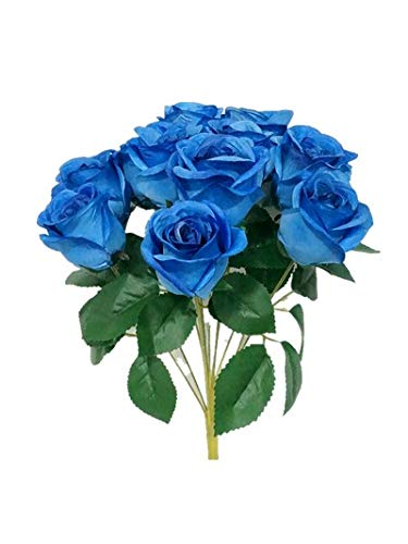 Sweet Home Deco 16'' Silk Rose Artificial Flower Bouquet (12 Stems/12 Flowers) Wedding Home Decorations (Royal Blue) (Home Decos)