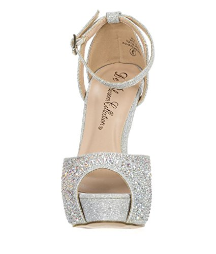 Silver Sandal Toe Ankle Vice Evening Womens Blossom Glitter Formal 126 Bridal Heel Strap Party High Peep pZWSq6