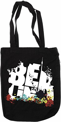 Organic Fashion Bag - Berlin - Graffiti 100% Bio - Fairtrade - Nero - my-tagshirt