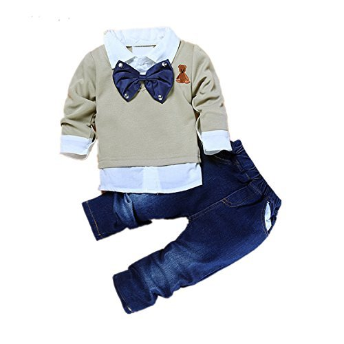 2pcs Toddler Baby Boys Bow Tie Shirt Tops+Denim Pants Gentleman Clothes Outfits (5T-6T)