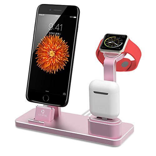 ATOPHK 4 in 1 Apple Watch Stand Aluminum NightStand Mode, Airpods Cell Phone Holder Desktop Bracket Charging Dock Station for Airpods iPhoneX 8 8plus 7 7plus 6S 6plus iWatch(38mm 42mm) (101-Rose gold)