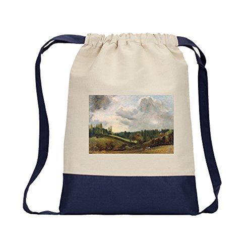 Dedham Vale (Constable) Canvas Backpack Color Drawstring Bag - Navy