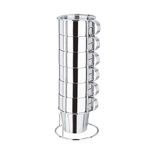 Virgin Forest 6 Pieces Stackable Stainless Steel Coffee Cups, Tea Cups with Stainless Steel Handle, Double Layer Heat Insulated Cups and Metal Stand (Dinner Tables Walmart)