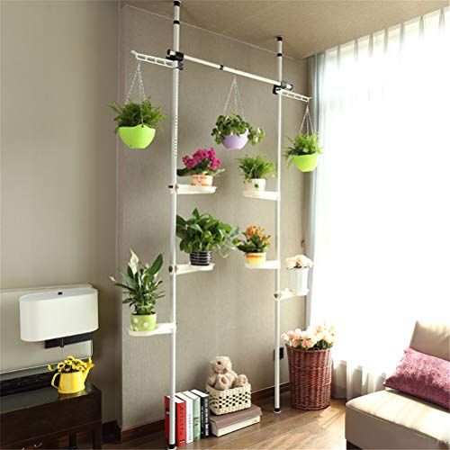 Indoor Plant Stand Pole Spring Tension Rod Corner Flower Display Rack Holder with Trays Adjustable Telescopic Floor To Ceiling Detachable 2 Poles 1 Bars,TwoHooks ()
