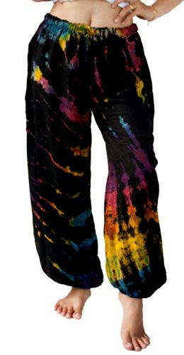 Treasures of Thailand Real Tie Dye Pants Harem Hippy Beach Casual Wear Mixed Color (Pants Beach Treasure)