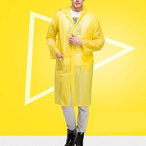 Color Capucha De Mujeres Clásico Delanteros Bolsillos Unisex Adulto Sólido Impermeable Amarillo Poncho Con 4pTazw