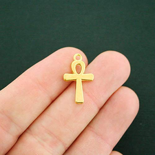 Gold Ankh Charm - Extensive Collection of Charm 10 Ankh Cross Charms Antique Gold Tone 2 Sided - GC830 Express Yourself