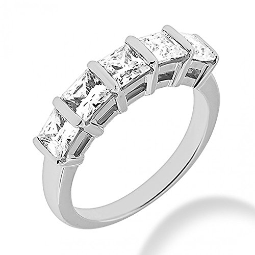2.00 ct. Five Stone Princess Cut Diamond Wedding Band in Bar Mounting in 14 kt White Gold In Size 5.5 ()