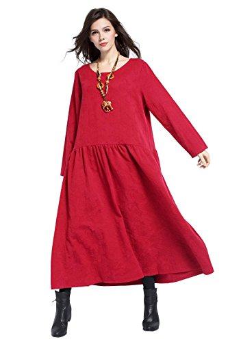 Printemps Anysize Hiver Lin Doux Et L'automne Robe Coton Taille Plus Robe Rouge Y315