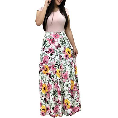 (Ulanda Elegant Women's Maxi Dress Floral Printed Autumn Long Sleeves Casual Tunic Long Maxi Dress … (X-Large, X417 Pink 02))