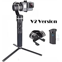 Feiyu G5 V2 Updated 3 Axis Splash Proof Handheld Gimbal for GoPro Hero 5 4 3, Yi Cam 4K, AEE Action Cameras of Similar Size with EACHSHOT Mini Tripod