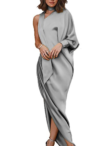 Senggeruida Ladies One Shoulder Scrunch Slit Side Choker Maxi Dress L ()