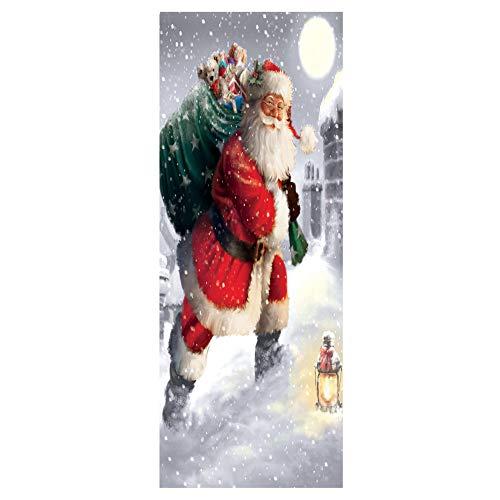 (NEARTIME Waterproof 3D Santa Claus Bag Self Adhesive Decoration Door Murals)