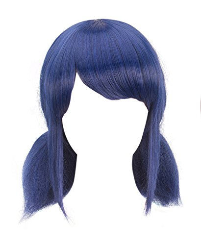 DAZCOS Marinette Wig for Girls Cosplay Blue Hair with Tails [ Adult/Child ] (Blue)]()