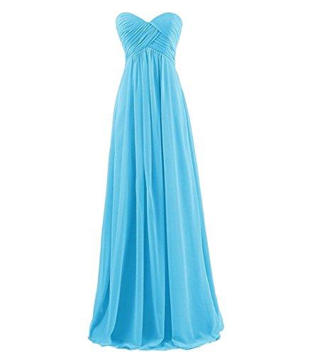 BessWedding Blue Sweetheart Gown Pleated Evening Dresses Bridesmaid Chiffon Prom Long v7q1vf