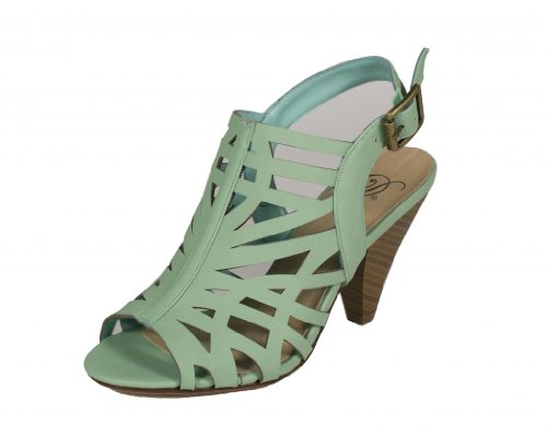 Ankle Strap Faux Wood - Delicious Women's Bolden Cut Out Peep Toe Stacked Faux Wood Heel and Ankle Buckle Strap Sandal, aqua nubuck leatherette, 5.5 M US