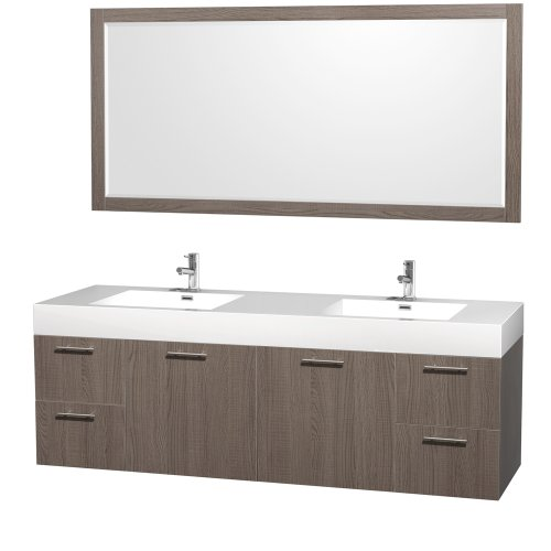 Wyndham Collection Amare 72 inch Double Bathroom Vanity in Grey Oak with Acrylic-Resin Top, Integrated Sinks, and 70 inch Mirror