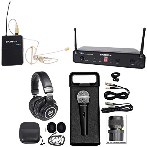 (SAMSON Concert 88 Wireless 16-Ch. UHF Earset System+Headphones+Mic+Case+Cable)