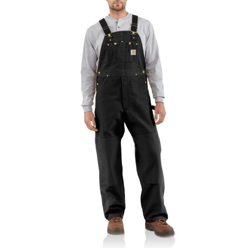 Carhartt Men's Duck Bib Overall Unlined R01,Black,44 x 32 (Bib Knee Length)
