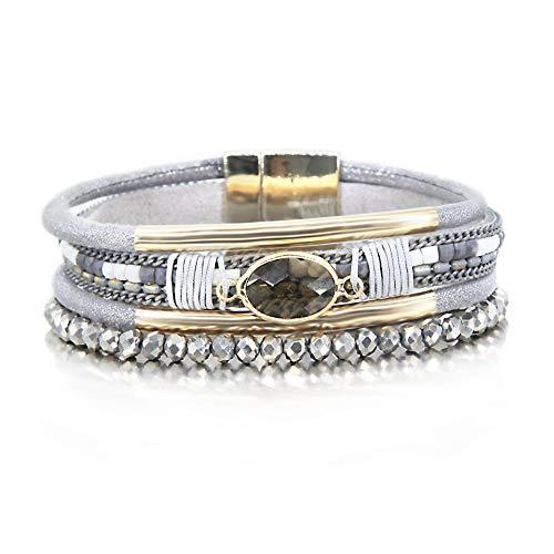 Gray Crystal Bracelet Leather Wrap Boho Bracelet Resin Nature Stone Cuff Bracelet Handmade Bangle Braided Magnetic Clasp Bracelet Multi Strand Bracelet for Women Girl