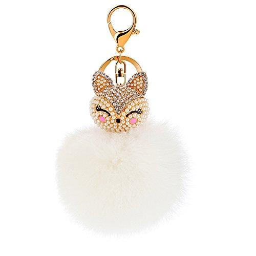 Cute Genuine Rabbit Fur Ball Pom Pom Keychain for Car Key Ring Handbag Bag Phone Pendant(White Ball,Blue Fox Head) Bird Key Ring Keychain