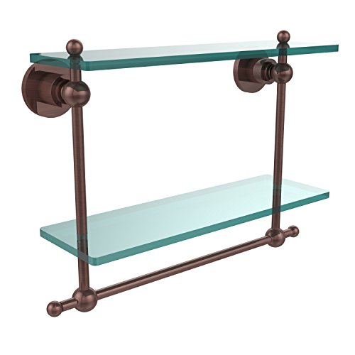 - Allied Brass AP-2TB/16-CA Astor Place Collection 16 Inch Two Tiered Glass Shelf with Integrated Towel Bar Antique Copper
