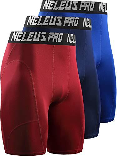Neleus Men's 3 Pack Compression Shorts,6065,Blue/Navy/Red,US XL,EU 2XL ()