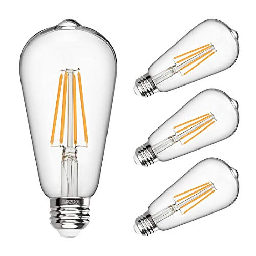 LED Edison Bulb Dimmable 6W Vintage Led Light Bulb 60W Equivalent 2200K Warm White 520 Lumen ST64 Led Filament Bulb E26 Medium Base Decorative Clear Glass for Bathroom Kitchen Dining Room, 4 Pack (Latest Dining Table Designs With Glass Top)