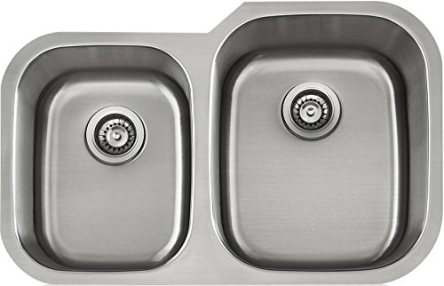 Lenova LD16621R Apogee Longer Right Stainless Steel Unequal Double Bowl Under-Mount Kitchen Sink, 16-Gauge by Apogee