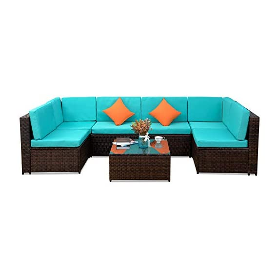 romatlink 7 Pieces Outdoor Rattan Patio Furniture Set, Modern Wicker Conversation Sectional Sofa Chairs with Cushioned Couch & Glass Top Coffee Table, Perfect for Garden Lawn Poolside Backyard - [Multiple layouts available for you]: The 7 pcs Rattan wicker sectional comes with 2 corner sofas, 4 Middle sofas, and 1 Coffee Table; cushions and throw pillows are also included to complete this set. Choose from a variety of different layouts and combinations to find your optimal configuration. [Modern & comfortable]: modern design outdoor sectional sofa with high-quality thickened Seat and back cushions take you more extraordinary comfort, Enjoy your leisure time whatever sitting or lying, suitable for entertaining your neighbors or friends. [Easy cleaning]: fade resistant cushions for easy to rinse. Simply zip off the machine washable cushion covers and give them a quick wash to have them looking brand new. - patio-furniture, patio, conversation-sets - 41gHysSwlnL. SS570  -