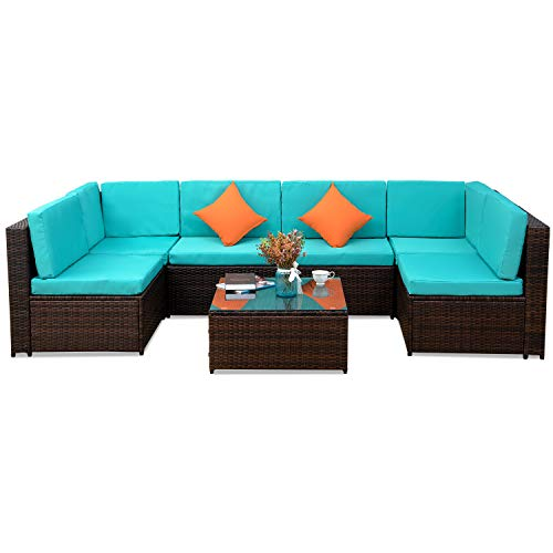 Green Wicker Outdoor Furniture - 7 PCS Outdoor Rattan Wicker Furniture Set Garden Patio Sectional Sofa with Cushioned Seat and Glass Coffee Table for Poolside, Backyard, Deck or Patio (Green Cushion)