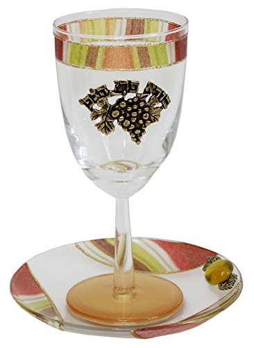 Lily Art Glass Appliquéd Kiddush Cup with Coaster in Vibrant Colors ()