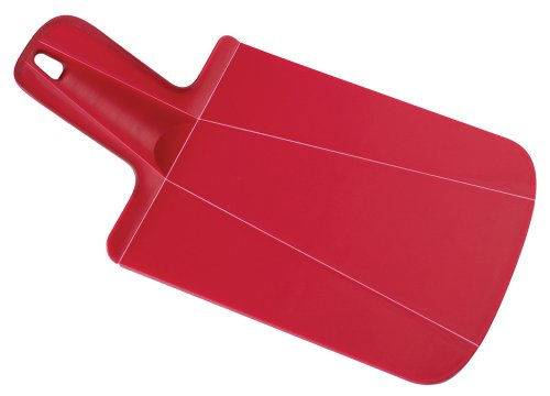 Mini Butcher Block - Joseph Joseph 60052 Chop2Pot Foldable Plastic Cutting Board 12.5-inch x 6.5-inch Chopping Board Kitchen Prep Mat with Non-Slip Feet 3.5-inch Handle Dishwasher Safe Lays Flat Folds Up, Mini, Red