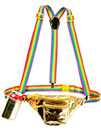 St. Patrick's Gold Fanny Pack w/Rainbow Suspenders and Drink Holder - St. Patrick's Accessory