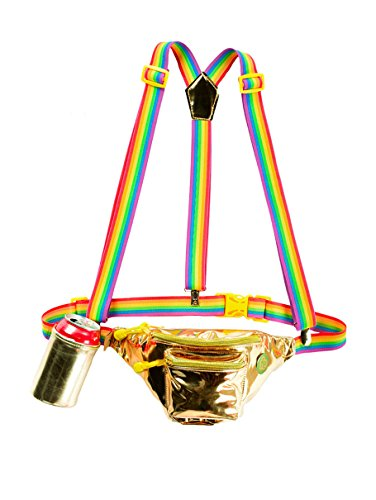 Pride Gold Fanny Pack w/Rainbow Suspenders and Drink Holder - Pride Accessory