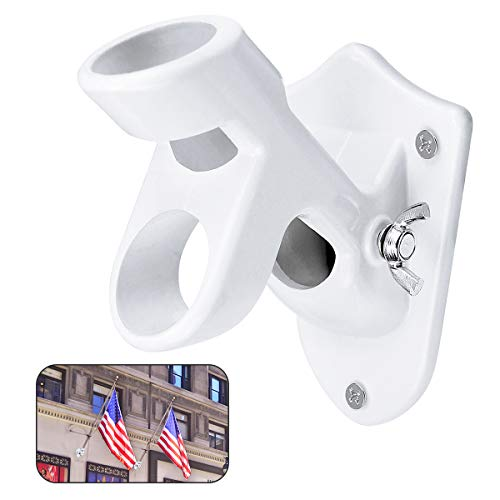 "Flag Pole Holder Mounting Bracket, 2 Position American Flag Pole Bracket - Aluminum and Rust Free Coated,1""Inner Diameter"